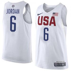 Nike NBA Maillots De Basket DeAndre Jordan Team USA #6 Homme Blanc 2016 Olympics Basketball
