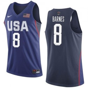 Nike Maillot Barnes Team USA Homme bleu marine No.8 2016 Olympics Basketball