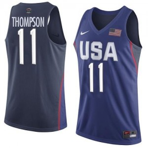 Nike NBA Maillots De Thompson Team USA No.11 2016 Olympics Basketball Homme bleu marine