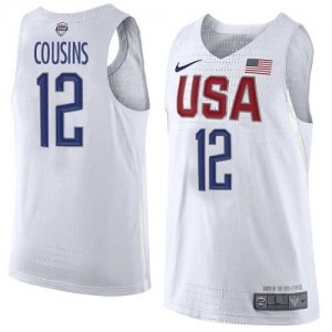 Maillots Basket Cousins Team USA No.12 2016 Olympics Basketball Nike Homme Blanc