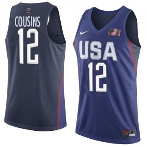 Maillots Basket DeMarcus Cousins Team USA Nike bleu marine Homme #12 2016 Olympics Basketball