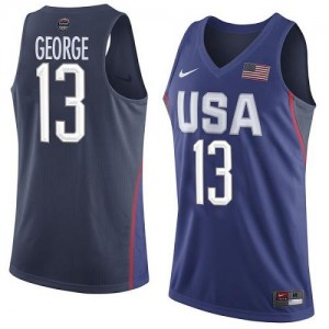 Maillot Basket Paul George Team USA 2016 Olympics Basketball Homme #13 bleu marine Nike
