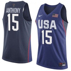 Nike Maillots De Anthony Team USA bleu marine 2016 Olympics Basketball No.15 Homme