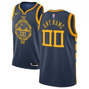 Nike Personnalisable Maillot Basket Golden State Warriors City Edition bleu marine Enfant