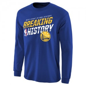 Tee-Shirt De Basket GSW Team Homme Breaking History Long Sleeve Bleu royal