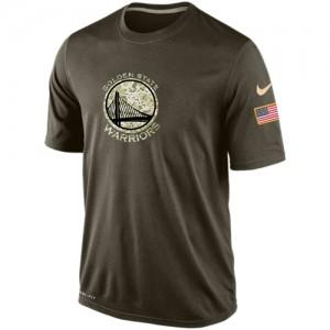 Nike NBA Tee-Shirt Basket Warriors Homme Olive Salute To Service KO Performance Dri-FIT