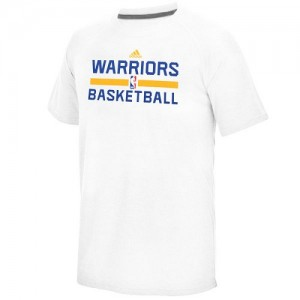 Adidas T-Shirt Basket Warriors Homme Blanc On-Court climalite Ultimate