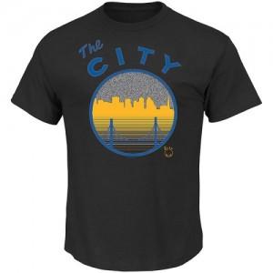 T-Shirt De Warriors Noir Reflective Skyline Tee Majestic Homme
