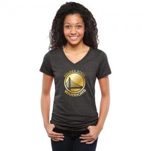 NBA T-Shirt De GSW Gold Collection V-Neck Tri-Blend Noir Femme