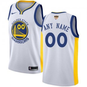Personnalise Maillot GSW Team Homme Nike Blanc 2018 Finals Bound Association Edition