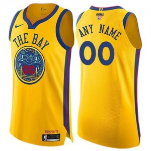 Nike Maillot Personnaliser Golden State Warriors or Enfant 2018 Finals Bound City Edition