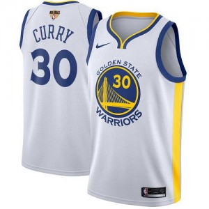 Maillots Stephen Curry GSW Team #30 Blanc 2018 Finals Bound Association Edition Enfant Nike