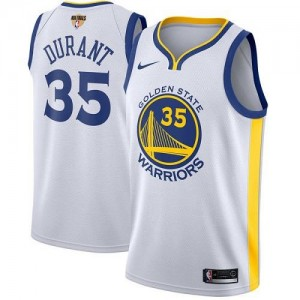 Nike NBA Maillots Durant Warriors Blanc #35 2018 Finals Bound Association Edition Enfant