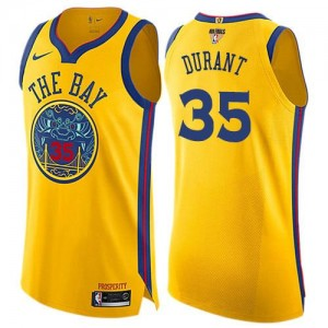 Nike Maillots Basket Durant GSW Team No.35 2018 Finals Bound City Edition Enfant or