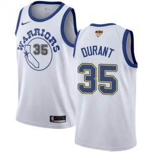 Nike NBA Maillot Basket Kevin Durant GSW Team 2018 Finals Bound Hardwood Classics Blanc Enfant No.35