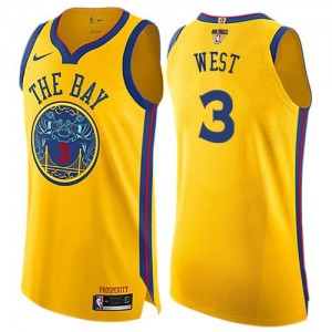 Maillots De Basket West Warriors No.3 Nike 2018 Finals Bound City Edition or Enfant