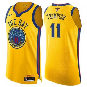 Maillot De Thompson Golden State Warriors or 2018 Finals Bound City Edition Nike Enfant No.11