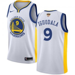 Nike Maillots Andre Iguodala GSW No.9 2018 Finals Bound Association Edition Blanc Homme