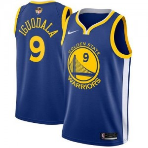 Nike Maillot Andre Iguodala Golden State Warriors 2018 Finals Bound Icon Edition Homme #9 Bleu royal