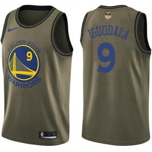 Nike Maillot De Basket Iguodala Warriors vert Homme #9 2018 Finals Bound Salute to Service
