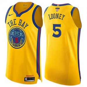 Maillots De Kevon Looney GSW Team 2018 Finals Bound City Edition Nike No.5 or Enfant