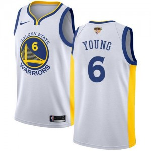 Nike Maillots De Young Golden State Warriors Blanc 2018 Finals Bound Association Edition No.6 Enfant