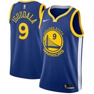 Nike Maillots Basket Andre Iguodala Warriors Enfant Icon Edition #9 Bleu royal