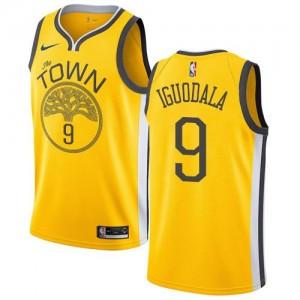 Nike Maillots Basket Iguodala Warriors Homme Earned Edition #9 Jaune