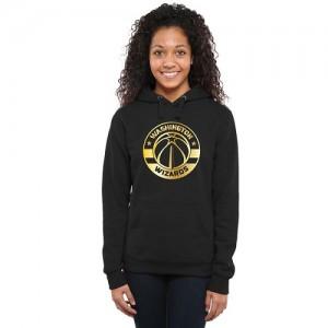 NBA Sweat à capuche Basket Wizards Noir Gold Collection Ladies Pullover Femme