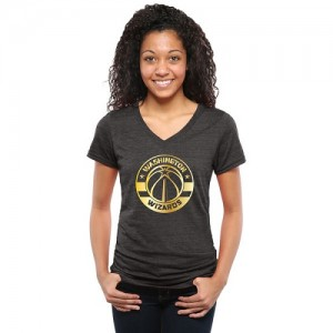 NBA Tee-Shirt Basket Washington Wizards Femme Noir Gold Collection V-Neck Tri-Blend