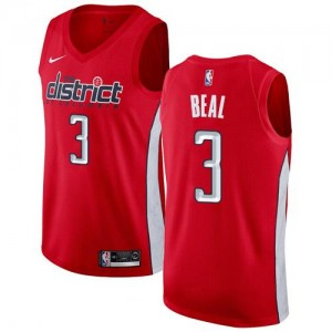 Maillot Basket Bradley Beal Wizards Nike Rouge Homme No.3 Earned Edition