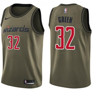 Maillots Basket Green Washington Wizards No.32 Salute to Service Nike Homme vert