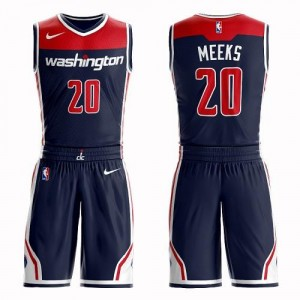 Nike NBA Maillots Basket Meeks Wizards Suit Statement Edition No.20 Homme bleu marine
