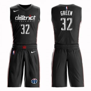 Nike NBA Maillot Green Washington Wizards Homme Suit City Edition Noir #32